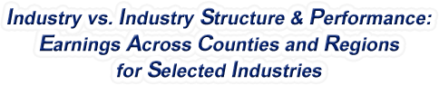 North Carolina - Industry vs. Industry Structure & Performance: Earnings Across Counties and Regions for Selected Industries